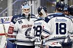 Utkání 51. kola hokejové extraligy: HC Vítkovice Ridera - HC Energie Karlovy Vary, 3. března 2020 v Ostravě. Vlevo brankář Vítkovic Miroslav Svoboda.