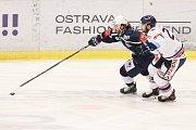 Utkání 30. kola hokejové extraligy: HC Vítkovice Ridera - HC Škoda Plzeň, 28. prosince 2018 v Ostravě. Na snímku (zleva) Lukáš Kaňák, Rastislav Dej.