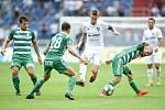 Utkání 5. kola první fotbalové ligy: FC Baník Ostrava - Bohemians 1905 , 10. srpna 2019 v Ostravě. Na snímku (zleva) Josef Jindřišek, Lukáš Hůlka, Jiří Fleišman a David Bartek.