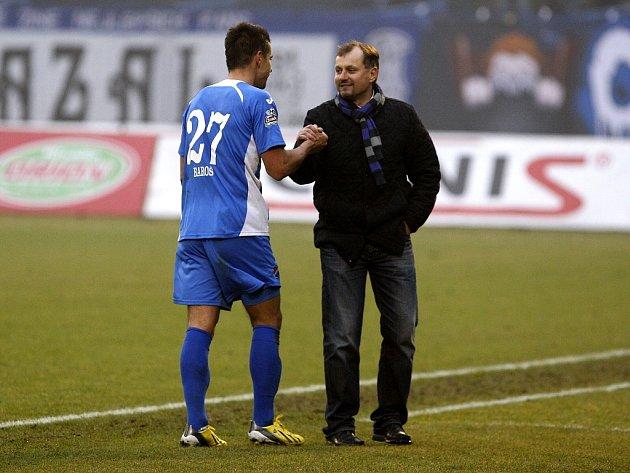 Milan Baroš (vlevo) s trenérem Baníku Martinem Pulpitem