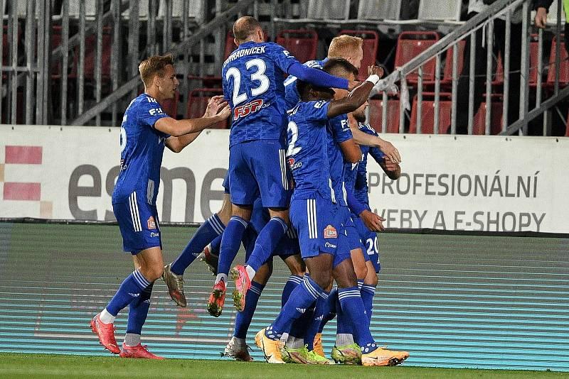 Utkání 8. kola první fotbalové ligy: SK Sigma Olomouc - FC Baník Ostrava 17. září 2021 v Olomouci. Hráči Olomouce se radují.