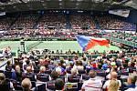 Utkání kvalifikace Fedcupového poháru Česká republika - Rumunsko, dvouhra, 9. února 2019 v Ostravě.