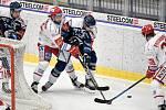 Utkání 16. kola hokejové extraligy: HC Vítkovice Ridera - HC Oceláři Třinec, 15. února 2021 v Ostravě. (střed) Tomáš Kundrátek z Třince a Lukáš Krenželok z Vítkovic.
