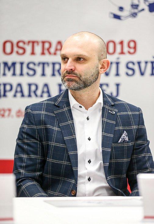 Tisková konference k Mistrovství světa v para hokeji 18. ledna 2019 v Ostravě. Na snímku Jiří Šindler předseda LOC, Mistrovství světa v para hokeji Ostrava 2019.