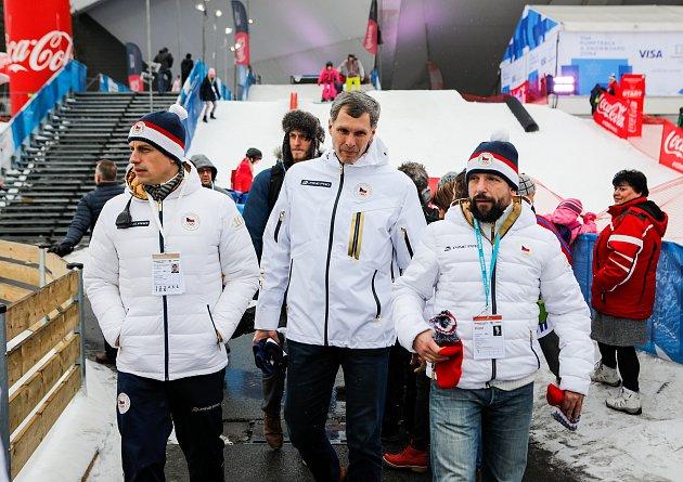 Olympijský festival uOstravar Arény vOstravě, neděle 18.února 2018, zprava Tomáš Macura,  Jiří Kejval