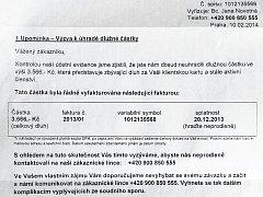 Dopis, ve kterém společnost Endemos distribution oznamuje adresátovi, že má nesplacený dluh.
