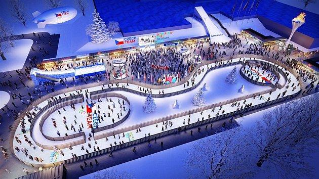 Vizualizace plánovaného olympijského parku v Ostravě.