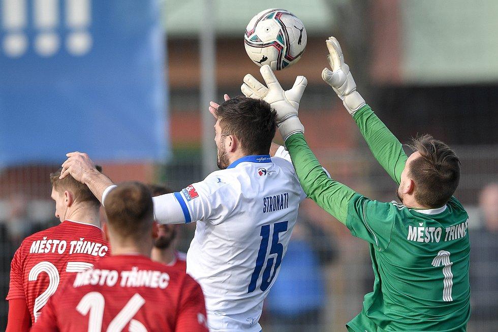 Utkání 3. kola českého fotbalového poháru MOL Cupu: FC Baník Ostrava - FK Fotbal Třinec, 23. února 2021 v Ostravě. Patrizio Stronati z Ostravy.