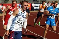 Pavel Maslák ve štafetě 4x100 metrů na Mistrovství Evropy v atletice v Ostravě