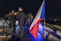 Oslavy výročí 17. listopadu v roce 2020 v Ostravě. Ze střechy radnice v úpatí vyhlídkové věže zazněla státní hymna v podání Janáčkovy filharmonie Ostrava.