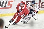 Čtvrtfinále play off hokejové extraligy - 4. zápas: HC Vítkovice Ridera - HC Oceláři Třinec, 25. března 2019 v Ostravě. Na snímku (zleva) Milan Doudera a Radoslav Tybor.