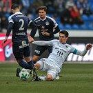 Zápas 17. kola první fotbalové ligy mezi FC Baník Ostrava a 1. FC Slovácko, 17. února 2018 v Ostravě. (vpravo) Hrubý Robert.