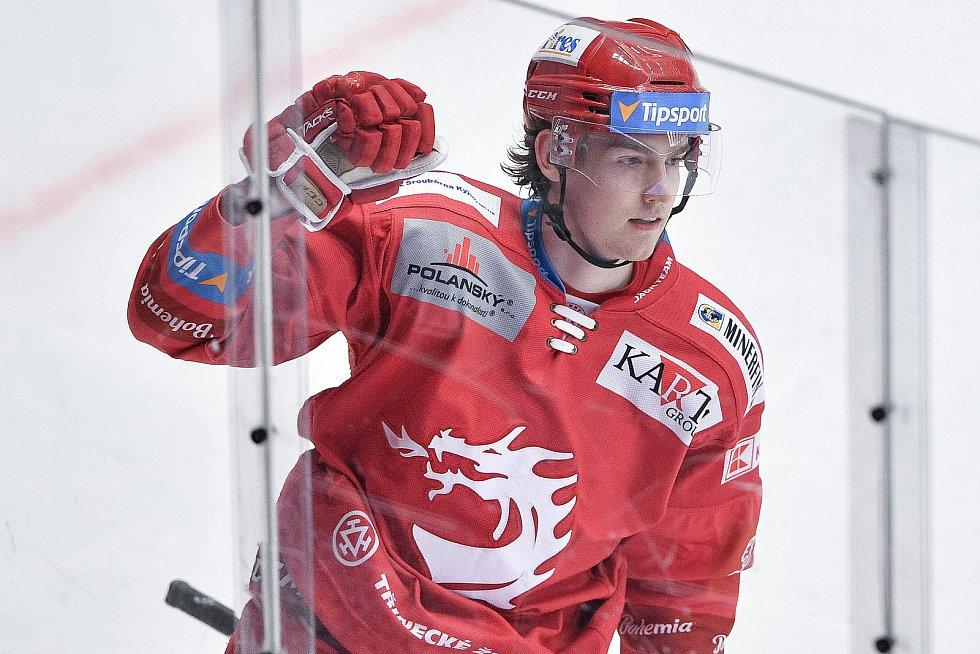Utkání 42. kola hokejové extraligy: HC Oceláři Třinec - HC Vítkovice Ridera, 2. února 2021 v Třinci. Michal Kovařčík z Třince oslavuje gól.