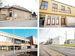 UHÁDNETE? Na snímcích jsou čtyři budovy kin v různých částech města. Tři z nich už svému účelu neslouží.