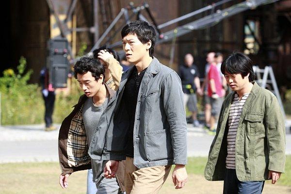 Snímek znatáčení korejského filmu vOstravě.