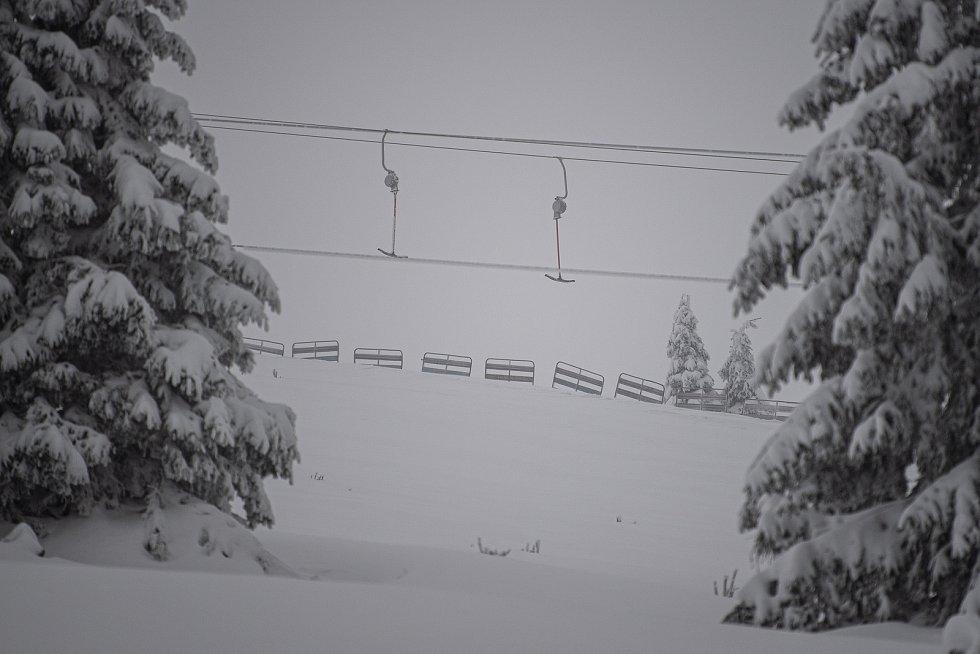 Sněhová nadílka na Pradědu, 30. ledna 2021.