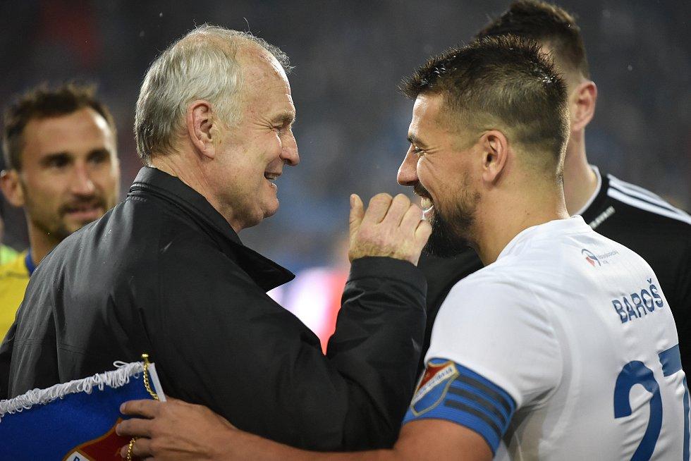 Utkání 23. kola první fotbalové ligy: Baník Ostrava - Fastav Zlín, 1. března 2019 v Ostravě. Na snímku Rostislav Vojáček a Milan Baroš.