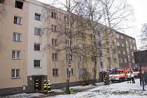 Požár bytu v Karviné.