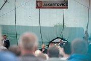 Prezident Miloš Zeman na návštěvě obce Jakartovice, 15. května 2018.