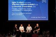 Hudební festival Colours of Ostrava v Ostravě 19. července 2017. Na snímku - (zleva) Igor Lukeš, Lubomír Zaorálek a Jan Keller, moderuje Petr Fischer.