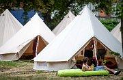 Hudební festival Colours of Ostrava 2019 v Dolní oblasti Vítkovice, 19. července 2019 v Ostravě. Na snímku stanové městečko Chill Village.