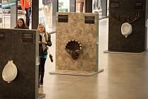 Výstava Pissoir Art Gallery ve Foru Nová Karolina upozorňuje na rakovinu prostaty ojediněle výstavou netradičních záchodových mušlí.