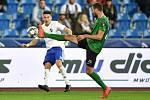 Utkání 11. kola první fotbalové ligy: Baník Ostrava - 1. FK Příbram, 30. září 2019 v Ostravě. Na snímku (zleva) Robert Hrubý a Karel Soldát.