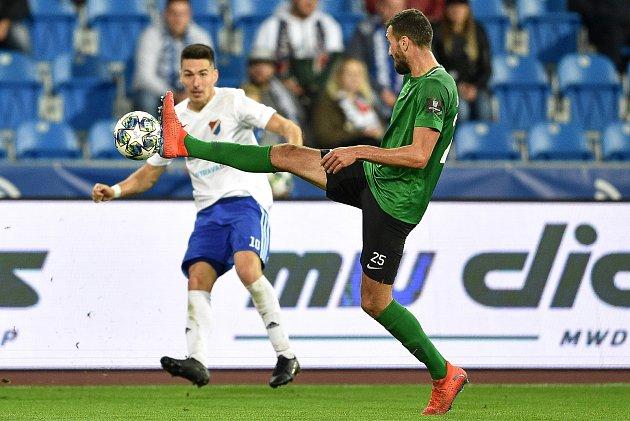 Utkání 11.kola první fotbalové ligy: Baník Ostrava - 1.FK Příbram, 30.září 2019vOstravě. Na snímku (zleva) Robert Hrubý a Karel Soldát.