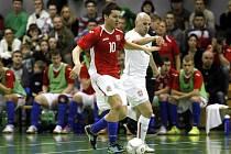 MICHAL SEIDLER (vlevo) se znovu proti Srbům střelecky prosadil. Ale ani v Ostravě jeho gól k výhře nevedl.