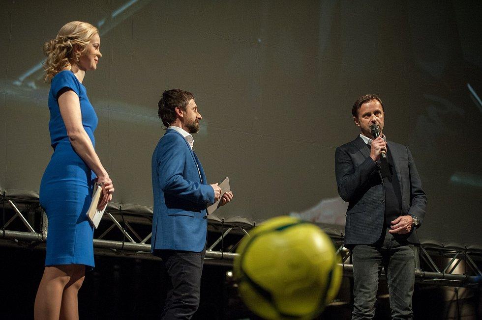Premiéra filmu Baník!!! v Gongu v Dolní Oblasti Vítkovic , 2. března 2018 v Ostravě. Václav Brabec (vpravo).
