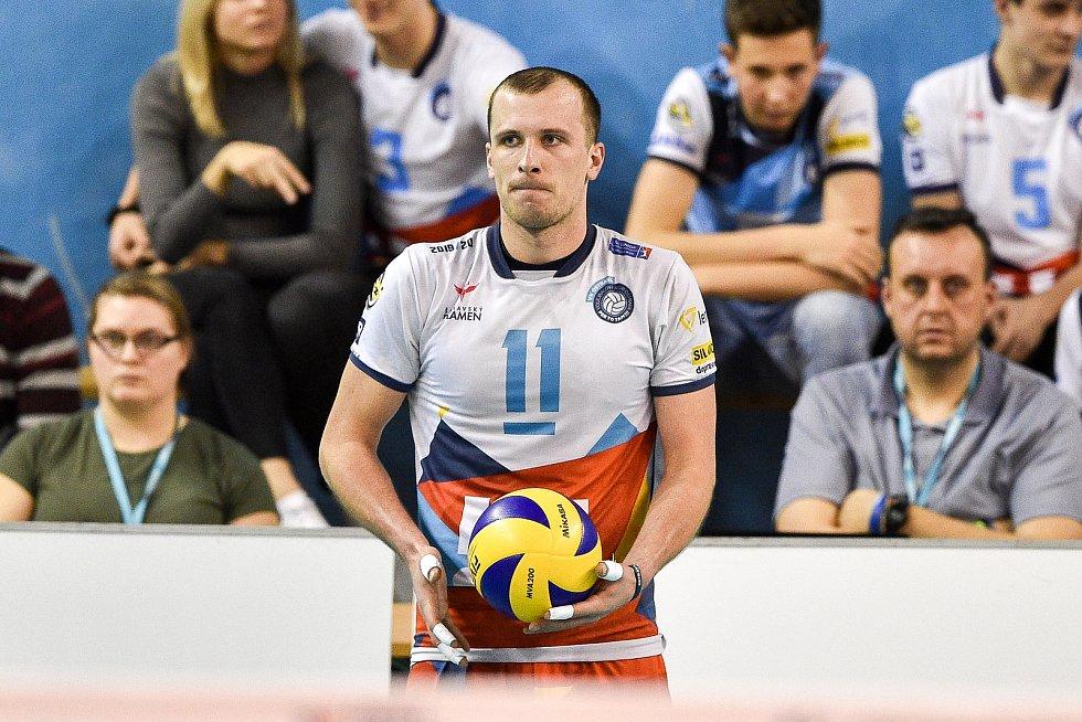 Zápas CEV Volleyball Cup 2020, VK Ostrava - Leo Shoes Modena, 12. února 2020 v Ostravě. David Janků z Ostravy.