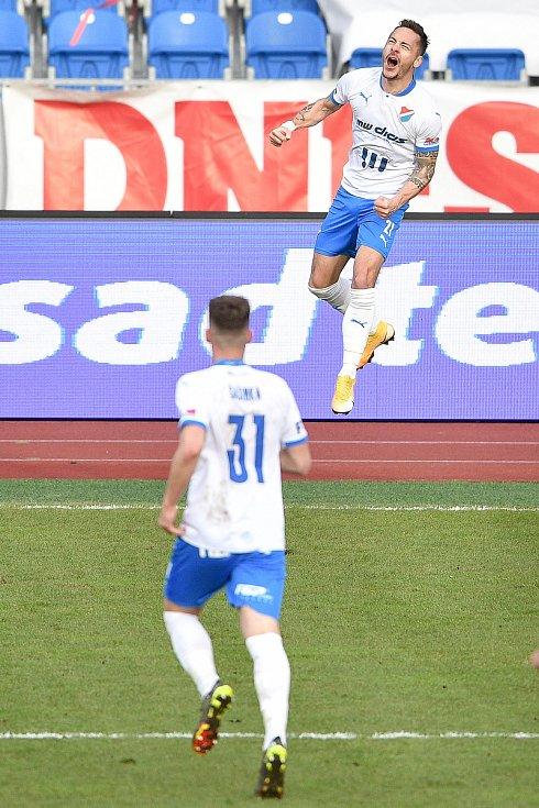Utkání 23. kola první fotbalové ligy: FC Baník Ostrava – 1. FK Příbram, 13. března 2021 v Ostravě. Daniel Holzer z Ostravy oslavuje gól.