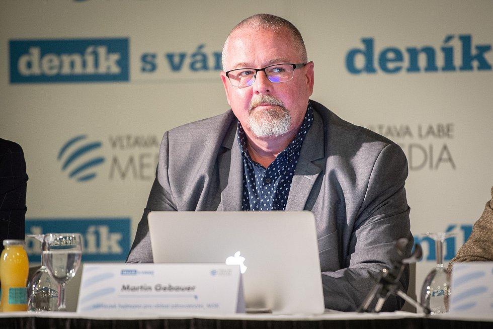 Na snímku Martin Gebauer na akci Deníku Setkání s hejtmanem Moravskoslezského kraje, 3. října 2019 v Multifunkční aule Gong v Dolních Vítkovicích.