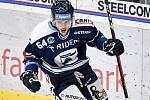 Utkání 16. kola hokejové extraligy: HC Vítkovice Ridera - HC Oceláři Třinec, 15. února 2021 v Ostravě. Patrik Koch z Vítkovic se raduje z gólu.