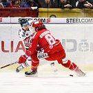 Utkání 34. kola hokejové extraligy: HC Vítkovice Ridera - HC Oceláři Třinec, 12. ledna 2019 v Ostravě. Na snímku (zleva) Jan Schleiss, David Cienciala.