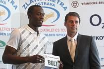 Hvězdy Zlaté tretry 2009 v Ostravě. Usain Bolt a Jan Železný