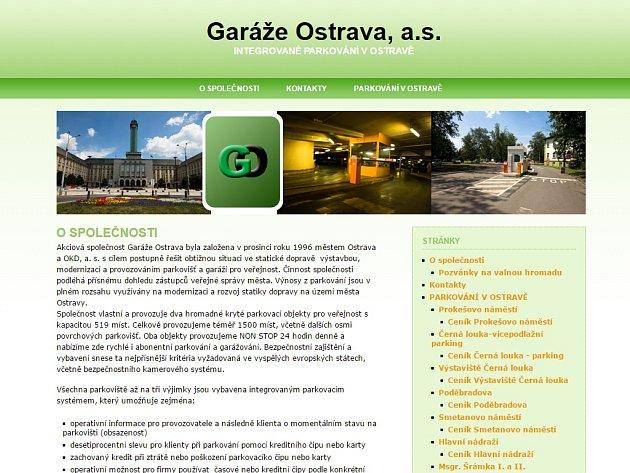 Webové stránky spol. Garáže Ostrava.