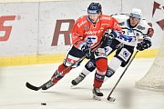 Utkání 4. kola hokejové extraligy: HC Vítkovice Ridera - HC Škoda Plzeň, 23. září 2018 v Ostravě. Na snímku (vlevo) De la rose Erik a Stach David.