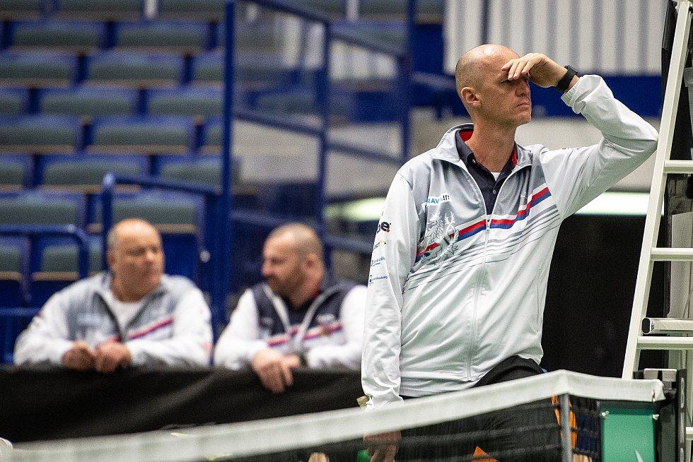 Trénink českých tenistek před utkáním 1. kola Světové skupiny Fed Cupu proti Rumunsku, 6. února 2019 v Ostravě. Na snímu Petr Pála.