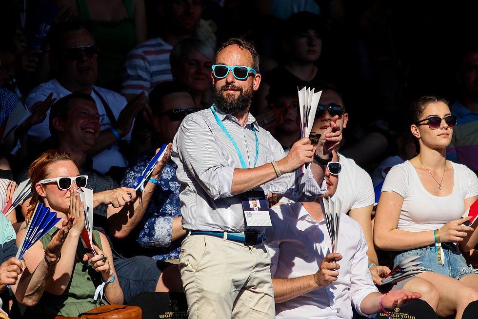 Finále muži: ČR - Norsko. FIVB Světové série v plážovém volejbalu J&T Banka Ostrava Beach Open, 2. června 2019 v Ostravě. Na snímku Tomáš Macura primátor Ostravy.