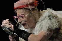Dana Fialková jako Winnie v Beckettově hře Šťastné dny, kterou  uvede Komorní scéna Aréna.