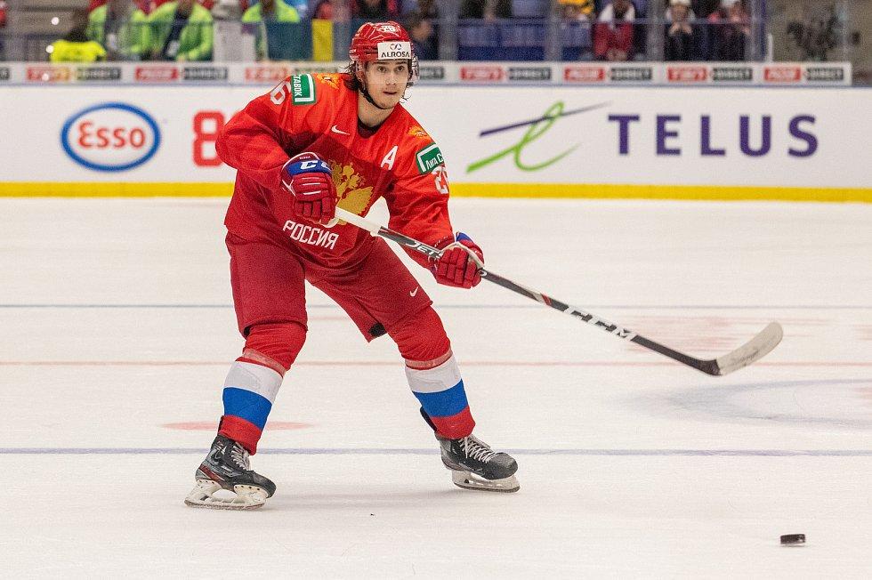 Mistrovství světa hokejistů do 20 let, semifinále: Švédsko - Rusko, 4. ledna 2020 v Ostravě. Na snímku Alexander Romanov (RUS).