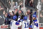 Mistrovství světa hokejistů do 20 let, skupina A: Slovensko - Kazachstán, 27. prosince 2019 v Třinci. Na snímku (zleva) radost hráčů Slovenska (David Mudrak, Robert Dzugan a Martin Vitalos).