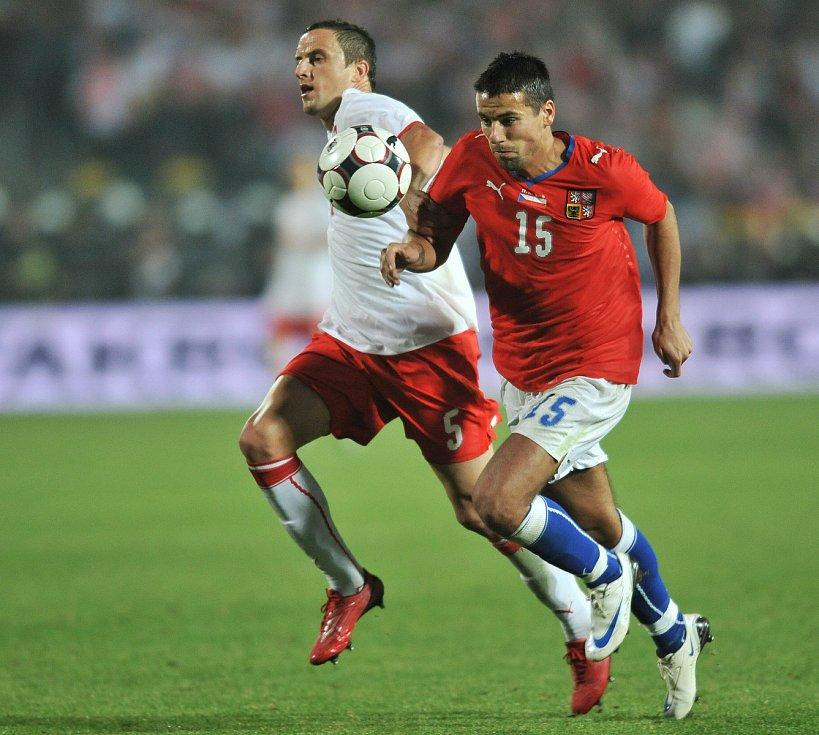 Milan Baroš při utkání s Polskem.
