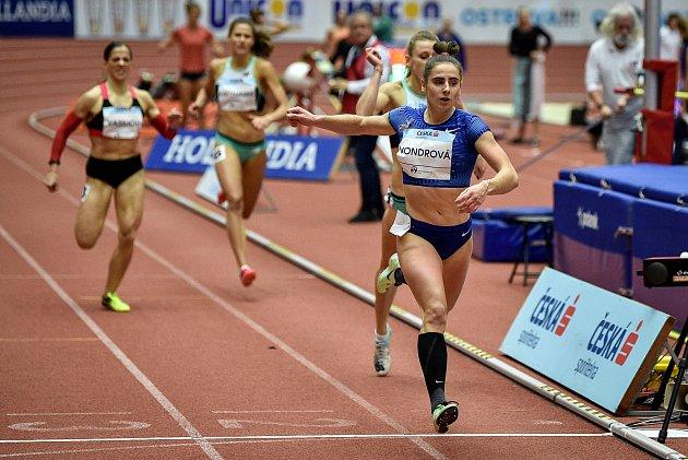 Mezinárodní halový atletický mítink Czech Indoor Gala 2020, 5.února 2020vOstravě. Běh 400m ženy Lada Vondrová zČeska.