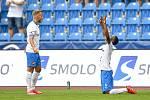 Utkání 2. kola první fotbalové ligy: Baník Ostrava - Fastav Zlín, 1. srpna 2021 v Ostravě. (zleva) Nemanja Kuzmanović z Ostravy a Collins Yira Sor z Ostravy se radují z gólu.