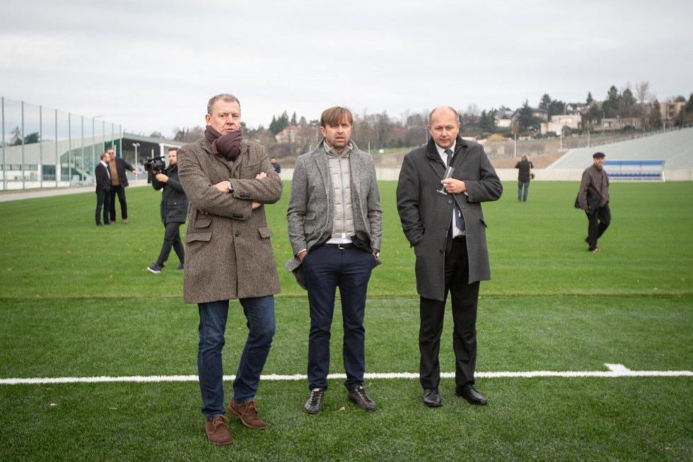 Slavnostní otevření stadionu Bazaly, 2. prosince 2019 v Ostravě. Na snímku (ve středu) Václav Brabec.