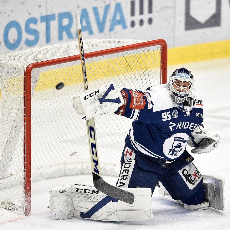 Utkání 24. kola hokejové extraligy: HC Vítkovice Ridera - HC Dynamo Pardubice, 4. prosince 2020 v Ostravě. brankář Miroslav Svoboda z Vítkovic.