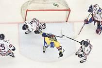 Utkání 32. kola hokejové extraligy: HC Vítkovice Ridera - PSG Berani Zlín, 4. ledna 2019 v Ostravě. Na snímku (uprostřed) Lakatoš Dominik.