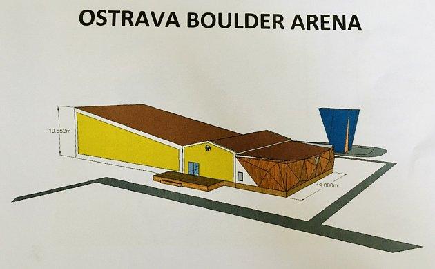 Projekt připravovaného rozšíření lezeckého areálu vOstrava Boulder Arenu evropských parametrů. Zdroj: Úmob Vítkovice